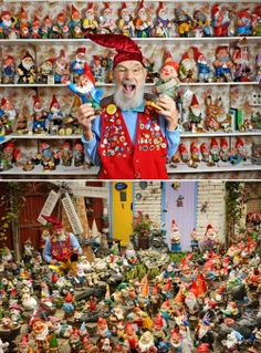 Ron Broomfield's huge collection of gnomes.