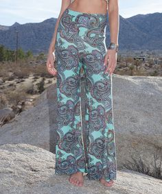 Look at this #zulilyfind! Mint Paisley Palazzo Pants by White Mark #zulilyfinds