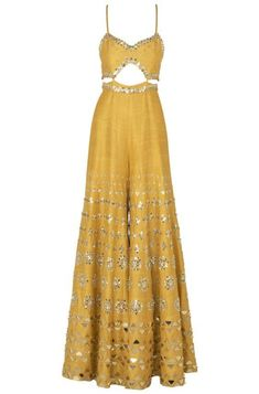 Papa Don't Preach presents Mustard yellow embroidered cutout jumpsuit available only at Pernia's Pop Up Shop. Indian Fashion Dresses, Indian Bridal Outfits, Dress Indian Style, Indian Gowns, Indian Designer Outfits, Indian Attire, Indian Wear, Diwali Dresses, Diwali Outfits