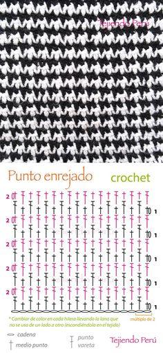 Crochet: punto enrejado (diagrama) ¡Lindo punto que intercala solo medio punto y varetas!༺✿ƬⱤღ https://www.pinterest.com/teretegui/✿༻: