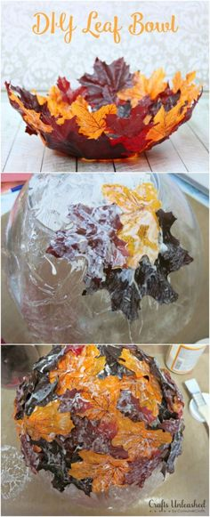 DIY Thanksgiving Decor Ideas - DIY Decorative Leaf Bowl - Fall Projects and Crafts for Thanksgiving Dinner Centerpieces, Vases, Arrangements With Leaves and Pumpkins - Easy and Cheap Crafts to Make for Home Decor http://diyjoy.com/diy-thanksgiving-decor-ideas