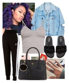 """Untitled #209"" by c-ayannah ❤ liked on Polyvore featuring Jack Spade, BasicGrey, Puma, Prada and Tory Burch"