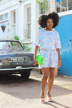 shell crop top, cropped top, jersey shorts, co-ord, co-ordinates, mix and match, fold over clutch, clutch bag, afro, igobyfrankie, frederique tietcheu, asos, asos personal stylist