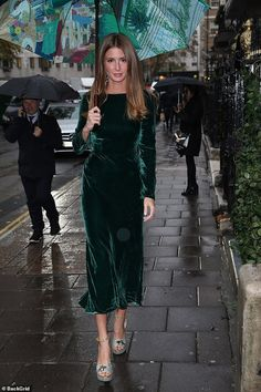 Millie Mackintosh oozes glamour in forest green velvet dress Millie Mackintosh was going solo for her latest business venture on Tuesday, as she hosted a lavish lunch with Keratase to celebrate the launch of Elixir Ultime in London's Annabel's. Warm Outfits, Classy Outfits, Dress Outfits, Fashion Dresses, Green Dress Outfit, Coat Dress, The Dress, Velvet Bridesmaid Dresses, Forest Green Bridesmaid Dresses