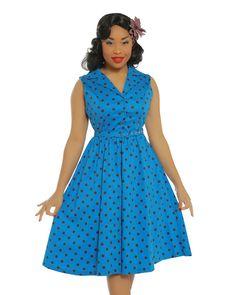 'Matilda' Medium Blue Polka Print Swing Dress - Dresses