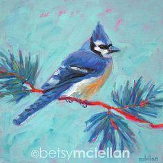 Blue Jay  Bird Art  Giclee Print by betsymclellanstudio on Etsy, $10.00