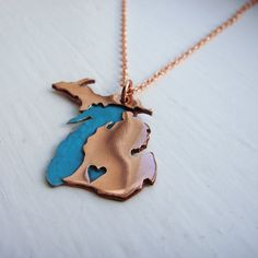 Love that this is the FULL STATE and features Lake Michigan!  Copper Full Michigan Love Made to Order over your Favorite City