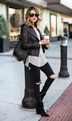 Black & White. Leather moto, black denim, backpack.