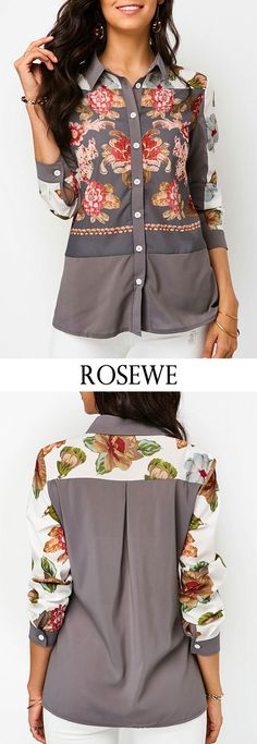 Turndown Collar Button Up Flower Print Blouse. Dressy Dresses, Lovely Dresses, Trendy Tops For Women, Blouses For Women, Sexy Outfits, Casual Outfits, Blouse Styles, Couture Fashion, Clothing