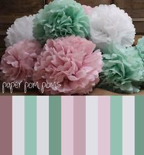 16 .mixed sizes pompoms tissue paper . wedding decorations - party poms