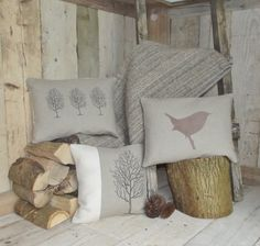 Woodland Inspiration....... Rustic Woodland Cushions & Throw Collection by Rustic Country Crafts