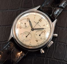 A vintage Breitling 3 Register Chronograph from the 1950's that features a…