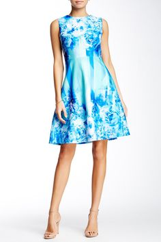 Printed Scuba Flare Dress