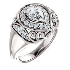 0.75 Ct Pear Diamond Engagement Ring 14k White Gold