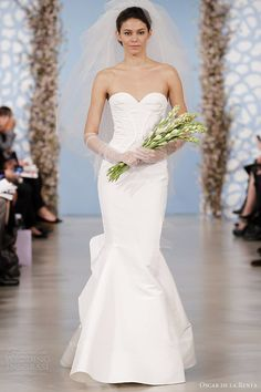 www.oscardelarenta.com, Oscar de la Renta 2014 bridal silk faille structured sweetheart trumpet gown