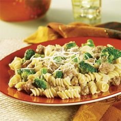 Need a great dish in a hurry? Try this savory skillet dish brimming with hot cooked pasta, broccoli, seasoned sausage, and a creamy broccoli cheese sauce.