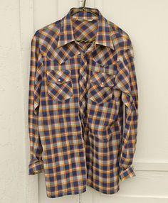 8f09ed7e964d7 Vintage Big E Levis Western Pearl Button Plaid Shirt 70 s X LG