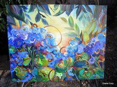 Original Painting Hydrangia Landscape16 x 20 by ElainesHeartsong