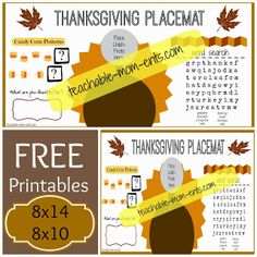 Teachable {MOM}ents: {FREE} Printable Thanksgiving Placemat