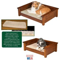 Amish handmade luxury dog bed solid oak raised pet cat dogs cats furniture executive pets lounge raised handcrafted royal traditional farmhouse America USA