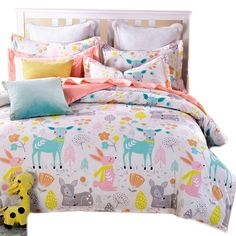 3pcs Kawaii Puppy Kitten Toy Bear And Natural Trees Flowers Bedding Sets For Kids Girls Single Full Queen Size Duvet Cover Set Evident Effect Bedding Sets Home & Garden