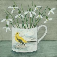 'Yellow wagtail and snowdrops' Snowdrops are such an inspiration, I never tire of drawing and painting them. Not long now until I can sketch new arrangements to keep me going in 2017.