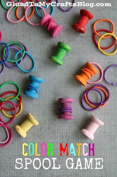 Simple Color Match Spool Game - Busy Bag Idea