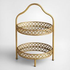 One of my favorite discoveries at WorldMarket.com: Gold 2-Tiered Stand