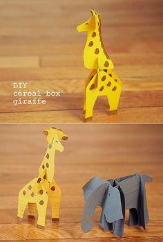 DIY Cereal Box Animal Printables -  fun recycled craft for kids | via Handmade Charlotte