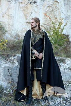 """Medieval Fantasy Exclusive Wool and Trimming Prince Cloak with lining """"Knight of the West"""" for sale. Available in: red wool, black wool, bronze color, silver :: by medieval store ArmStreet"""