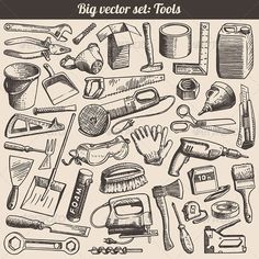 Vector Doodles Collection of Working Tools  #GraphicRiver         Vector doodles collection of working tools and