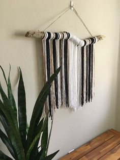 Excited to share this item from my shop: NEW Large yarn tapestry, wall hanging tapestry on driftwood.