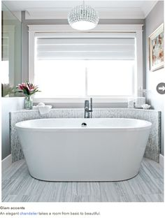 Not only is this bathtub surround beautiful, but it's also functional. Cover with brown antique granite??