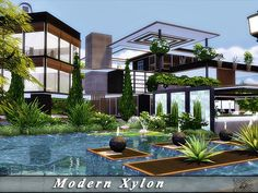 Created by Found in TSR Category 'Sims 4 Residential Lots' Sims 4 House Design, Dream Home Design, Home Design Plans, Modern House Design, Sims 4 House Plans, Sims 4 House Building, Lotes The Sims 4, Sims Cc, Minecraft Modern