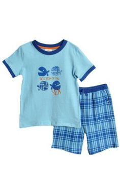 NWT Absorba Toddler Boys 2 pc blue plaid knit shorts set $12.00