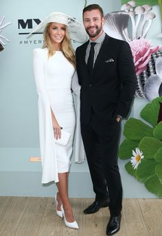 Derby Day 2015: Jennifer Hawkins in Alex Perry and Kris Smith at the Myer marquee