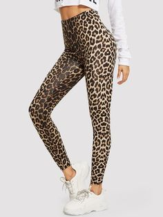 To find out about the High Waist Leopard Print Leggings at SHEIN, part of our latest Leggings ready to shop online today! Leopard Print Leggings, Printed Leggings, Print Tights, Leopard Pants, Workout Leggings, Women's Leggings, Leggings Store, Cheap Leggings, Zumba