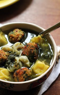 Italian wedding soup just like grandma used to make, but with eggplant-based veggie balls in place of the traditional meatballs! Comfort food at its best.
