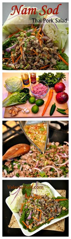 Nam Sod - Thai Pork Salad is so easy to make at home. This recipe duplicates the classic Thai dish.