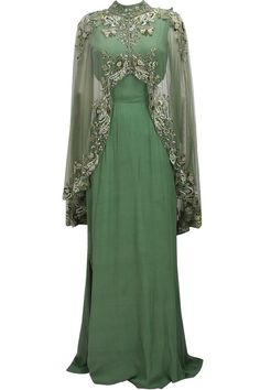 Green cutout goddess gown with embroidered high low sheer cape available only at Pernia's Pop Up Shop.