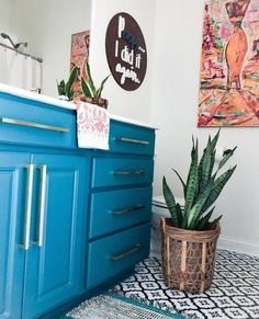 Velvet Finishes Paint (@velvetfinishes) • Instagram photos and videos Turquoise Painted Furniture, Diy Projects Cans, Bathroom Vanity Makeover, Floor Decal, Stick On Tiles, Furniture Inspiration, Furniture Projects, Diy Painting, Interior Design