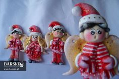 Mikołajowe Aniołki z masy solnej Salt Dough, My Works, Ronald Mcdonald, Angels, Christmas Ornaments, Holiday Decor, Character, Home Decor, Christmas Ornament