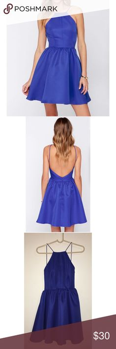 Blue backless skater dress Beautiful blue colored, woven poly, square neckline, fully lined, backless skater dress. It has a hidden zipper with clasp. Only worn once. Lulu's Dresses Backless