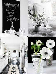 Black & White inspiration. Love the flowers!
