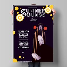 Summerboard Sound Poster – This flyer / poster can be used to promote a futuristic party or an electronic music event or a one night stand club party. This psd template is suitable for a dj