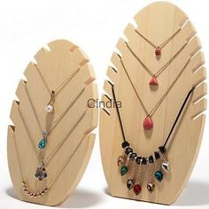 2pcs-Necklace-Chain-Pendant-Wood-Jewelry-Display-Stand-Holder-Rack-Organizer