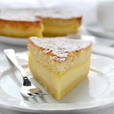 Magic Cake   The magic is in the fact that you make only one batter and, after baking, you get a cake with 3 distinct layers: dense one on the bottom, custard-like layer in the middle, and a sponge layer on top.