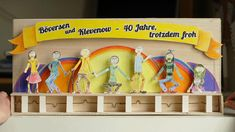 This charming automaton was made out of drawings by children. The paper drawings were mounted on to a thicker bristol board or foam-core and given wire pivots. All were then mounted to a common crank shaft. A quick and effective process with a nice final product.