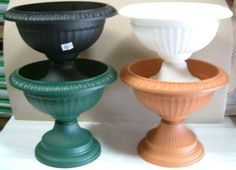 42cm PLASTIC GRECIAN URN PLANTERS CHOICE OF COLOURS ( 2 or 6 PACK )