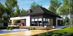 Modern Bungalow Exterior, Modern Bungalow House, Modern Farmhouse Exterior, Modern Cottage, Modern House Design, House Layout Plans, House Layouts, Suburban House, Home Fashion